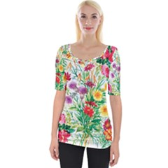 Painting Flowers Wide Neckline Tee by goljakoff