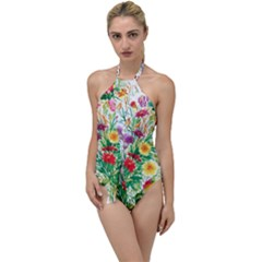 Painting Flowers Go With The Flow One Piece Swimsuit