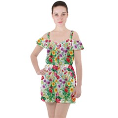 Painting Flowers Ruffle Cut Out Chiffon Playsuit