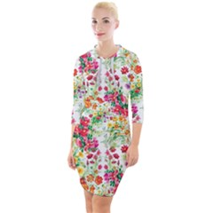 Summer Flowers Quarter Sleeve Hood Bodycon Dress by goljakoff