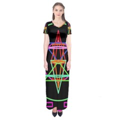 Drawing Of A Color Mandala On Black Short Sleeve Maxi Dress