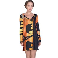 Family Of African Elephants Long Sleeve Nightdress