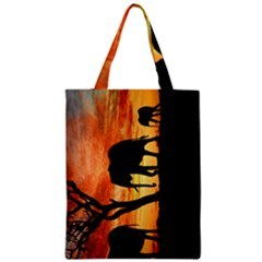Family Of African Elephants Zipper Classic Tote Bag