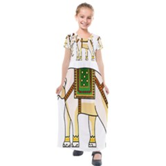 Elephant Indian Animal Design Kids  Short Sleeve Maxi Dress by Sudhe