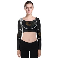 Vintage Camera Velvet Long Sleeve Crop Top