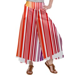 Colorful Gradient Barcode Satin Palazzo Pants by Sudhe