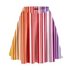 Colorful Gradient Barcode High Waist Skirt by Sudhe