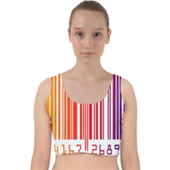 Colorful Gradient Barcode Velvet Racer Back Crop Top