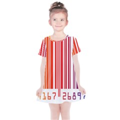 Colorful Gradient Barcode Kids  Simple Cotton Dress