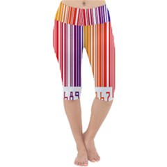 Colorful Gradient Barcode Lightweight Velour Cropped Yoga Leggings