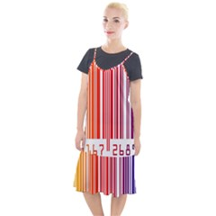 Colorful Gradient Barcode Camis Fishtail Dress
