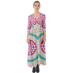 Mandala Design Arts Indian Button Up Boho Maxi Dress