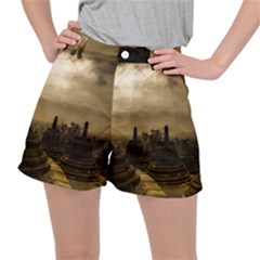 Borobudur Temple  Indonesia Stretch Ripstop Shorts