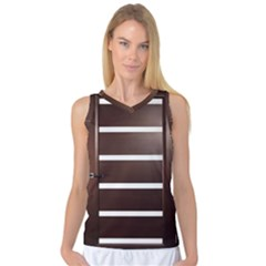 Minimalis Brown Door Women s Basketball Tank Top by Sudhe