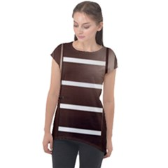 Minimalis Brown Door Cap Sleeve High Low Top by Sudhe