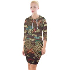 Colorful The Beautiful Of Art Indonesian Batik Pattern Quarter Sleeve Hood Bodycon Dress