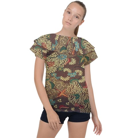 Colorful The Beautiful Of Art Indonesian Batik Pattern Ruffle Collar Chiffon Blouse by Sudhe