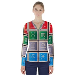 Set Of The Twelve Signs Of The Zodiac Astrology Birth Symbols V Neck Long Sleeve Top