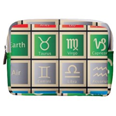 Set Of The Twelve Signs Of The Zodiac Astrology Birth Symbols Make Up Pouch (medium)