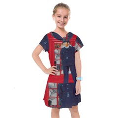 Red London Phone Boxes Kids  Drop Waist Dress