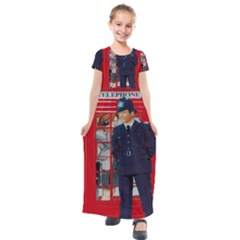 Red London Phone Boxes Kids  Short Sleeve Maxi Dress