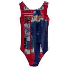 Red London Phone Boxes Kids  Cut-out Back One Piece Swimsuit