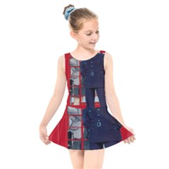 Red London Phone Boxes Kids  Skater Dress Swimsuit