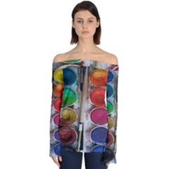 Paint Box Off Shoulder Long Sleeve Top