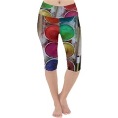 Paint Box Lightweight Velour Cropped Yoga Leggings by Sudhe