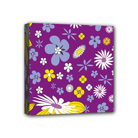 Floral Flowers Mini Canvas 4  X 4  (stretched)