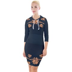 Floral Vintage Royal Frame Pattern Quarter Sleeve Hood Bodycon Dress by Sudhe