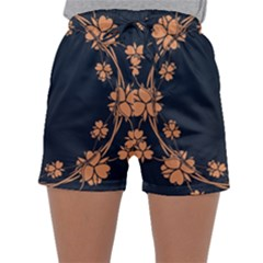 Floral Vintage Royal Frame Pattern Sleepwear Shorts