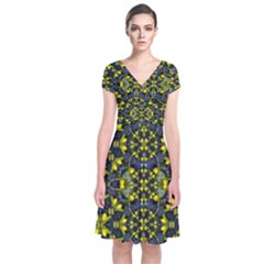 Fresh Clean Spring Flowers In Floral Wreaths Short Sleeve Front Wrap Dress by pepitasart