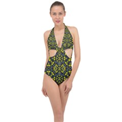 Fresh Clean Spring Flowers In Floral Wreaths Halter Front Plunge Swimsuit