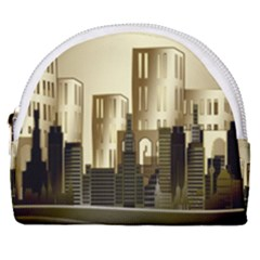 Architecture City House Horseshoe Style Canvas Pouch