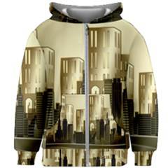 Architecture City House Kids  Zipper Hoodie Without Drawstring