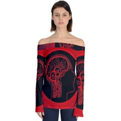 Artificial Intelligence Brain Think Off Shoulder Long Sleeve Top by Sudhe