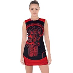 Artificial Intelligence Brain Think Lace Up Front Bodycon Dress