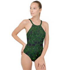 Board Conductors Circuits High Neck One Piece Swimsuit