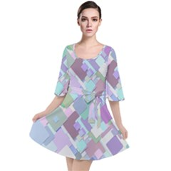 Colorful Background Multicolored Velour Kimono Dress