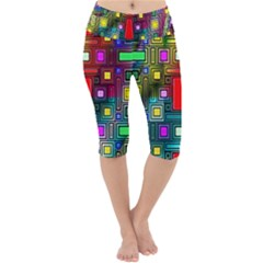 Art Rectangles Abstract Modern Art Lightweight Velour Cropped Yoga Leggings