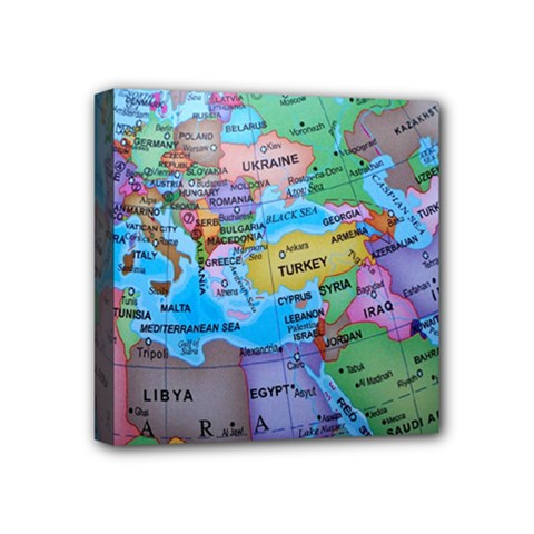 Globe World Map Maps Europe Mini Canvas 4  X 4  (stretched) by Sudhe