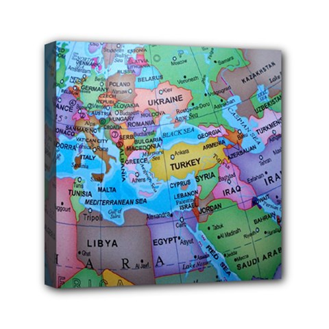 Globe World Map Maps Europe Mini Canvas 6  X 6  (stretched) by Sudhe