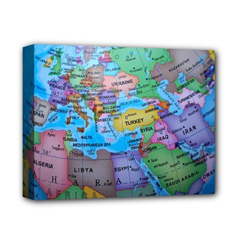 Globe World Map Maps Europe Deluxe Canvas 14  X 11  (stretched) by Sudhe
