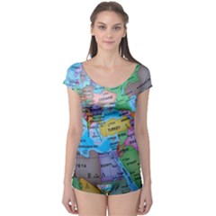 Globe World Map Maps Europe Boyleg Leotard  by Sudhe