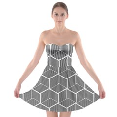Cube Pattern Cube Seamless Repeat Strapless Bra Top Dress