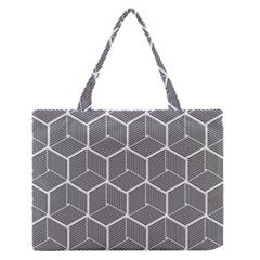Cube Pattern Cube Seamless Repeat Zipper Medium Tote Bag