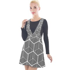 Cube Pattern Cube Seamless Repeat Plunge Pinafore Velour Dress