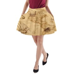 Map Discovery America Ship Train A-line Pocket Skirt by Sudhe