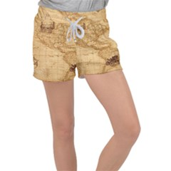 Map Discovery America Ship Train Women s Velour Lounge Shorts